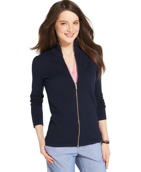 Outwear Jaket Sweater Hoodie Wanita Blue womens navy blue zip up sweater baggage clothing