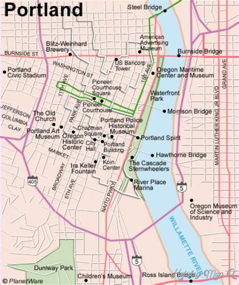 portland on map of oregon portland map tourist attractions map travel