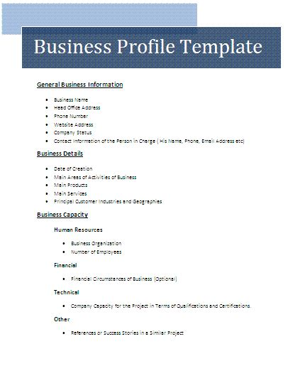 business profile templates business profile template free business templates