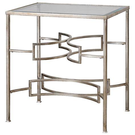 silver leaf end table endora regency silver leaf glass end table