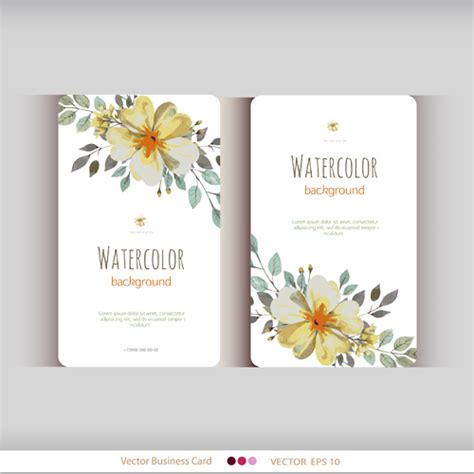 flower design name card beautiful watercolor flower business cards vector set 13