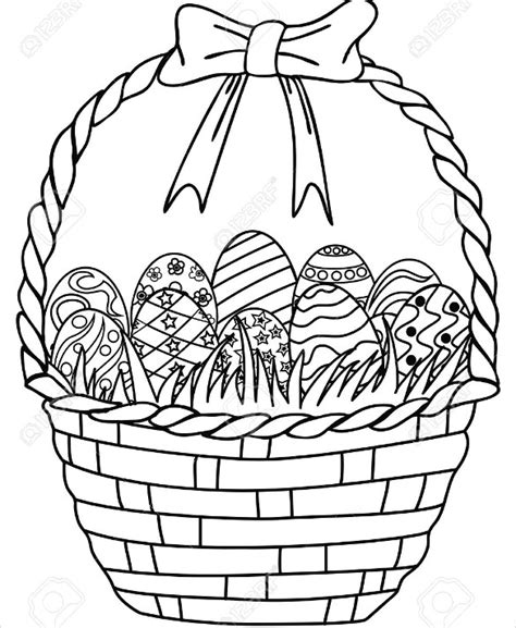 basket of eggs coloring page 21 easter drawings free psd vector eps png format