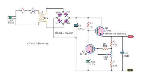 transistor power suply tv 9v regulated power supply circuit using transistors and zener