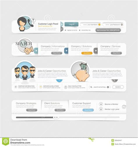 Website Template Design Menu Navigation Elements With Icons Set Stock Vector Illustration Web Page Menu Templates