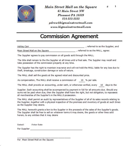 Letter Of Agreement On Commission Commission Agreement Templates Find Word Templates