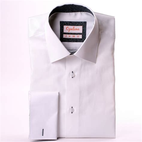 pattern shirt with white collar white french cuff shirt with grey patterns collar and cuffs