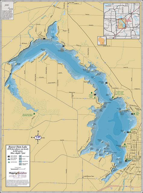 lake map beaver dam lake wall map
