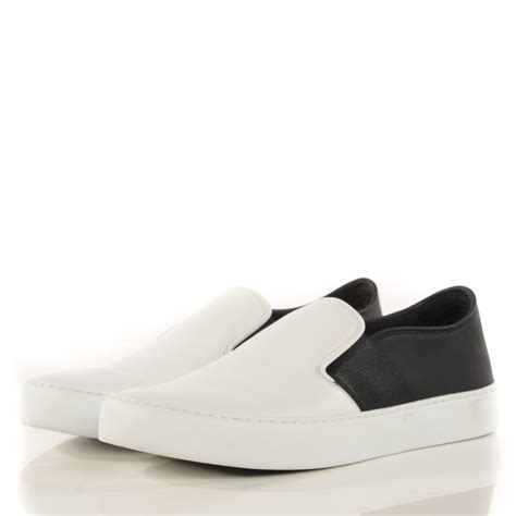 black white sneakers chanel leather slip on sneakers 37 5 white black 115418