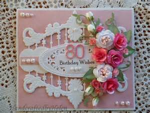 handcrafted by helen 80 birthday card