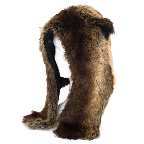 Animal Earcap mens faux fur animal warm winter fluffy plush hat cap with ears new ebay