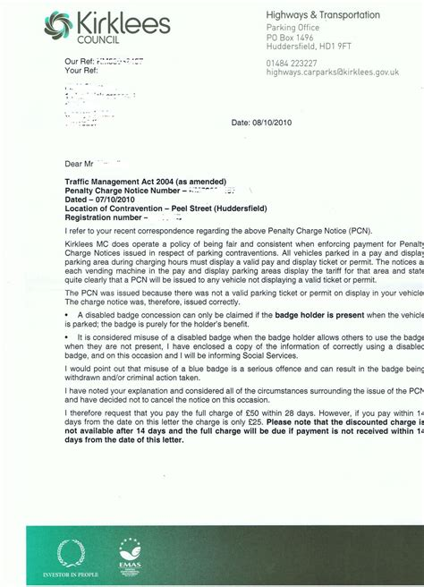 Blue Badge Appeal Letter Sle Pcn Issued While Displaying Valid Blue Badge Fightback
