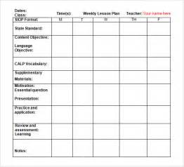 Weekly Lesson Plan Template Preschool by Sle Weekly Lesson Plan 8 Documents In Word Excel Pdf
