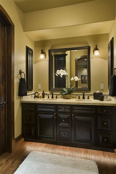 black bathroom shelves dark cabinets yellow walls master bath home deccorr
