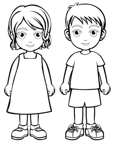 printable coloring pages of a girl boy girl coloring page boys and girls wear colouring pages