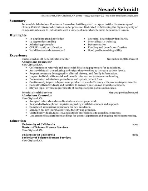 admissions counselor resume  livecareer