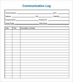 communication template exle communication log template 8 free pdf doc