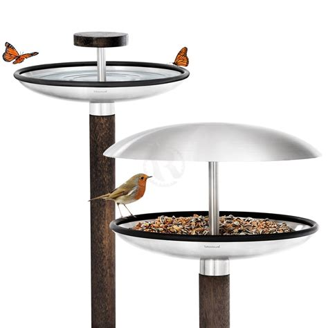 blomus fuera bird feeder and bird bath black by design