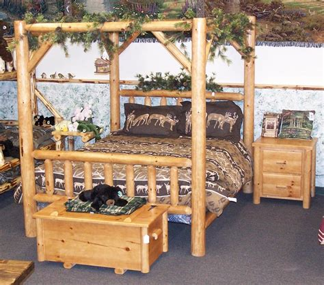 log canopy bed amish rustic pine log canopy bed
