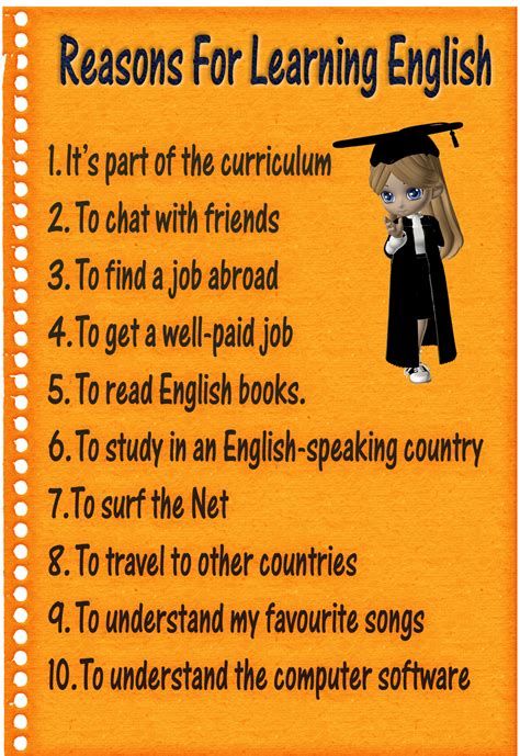 Plakat Englisch by 10 Reasons For Learning Poster
