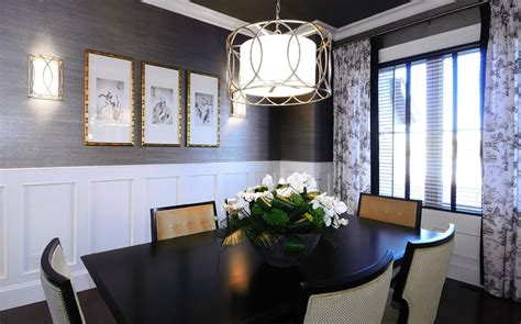 grasscloth wallpaper dining room contemporary with crown molding centerpiece