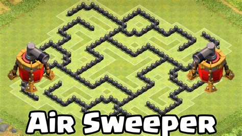 coc layout with air sweeper clash of clans air sweeper th8 defense strategy best coc
