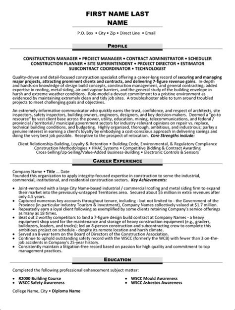 construction executive resume sles resume sle 20 construction superintendent resume career