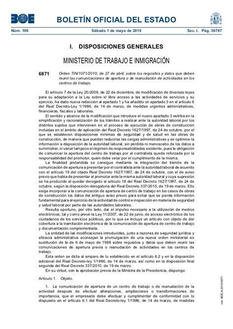 reanudacin de las hostilidades 8467050012 orden tin 1071 2010 de 27 de abril sobre los requisitos y datos que