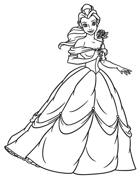 printable coloring pages belle princess belle holding flower coloring page enjoy
