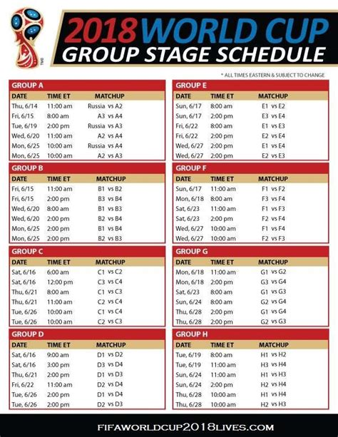world cup groups table fifa world cup 2018 stage schedule fixtures time