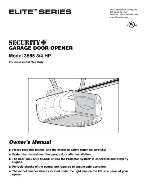 chamberlain garage door opener 3585 3 4 hp user s guide manualsonline