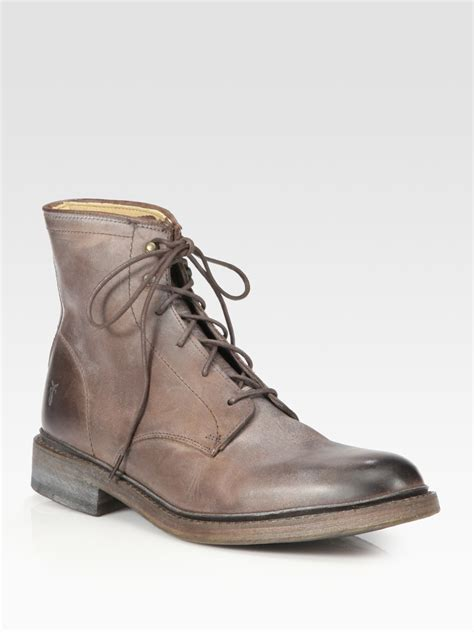 frye lace up boots frye lace up ankle boots in brown for lyst