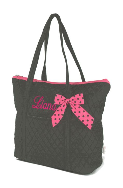 Embroidered Tote Bag embroidered quilted tote bag monogram personalized