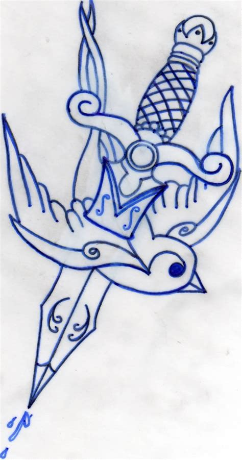 tattoo design old school school dagger in design by pauljobe