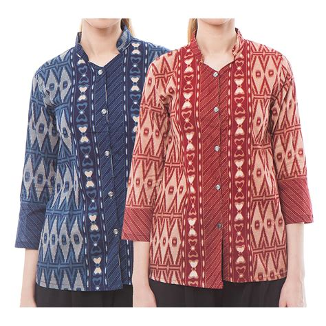 Dress Batik Cirebon 1 blouse batik cirebon collar blouses