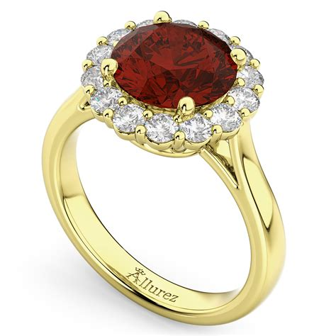 halo garnet engagement ring 14k yellow