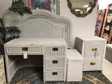 Wicker Vanity Set White Wicker Vanity Set W Size Headboard And Filing Ca