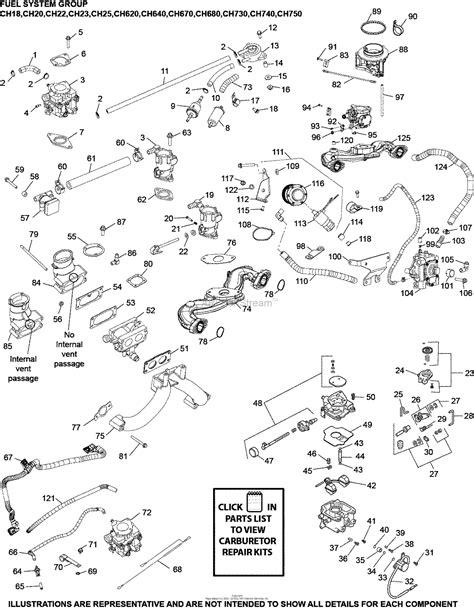 kohler ch  john deere  hp  kw parts diagram  fuel system    ch