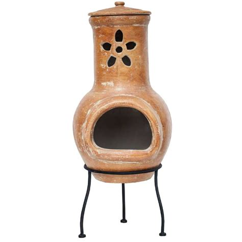 Small Chiminea Sale la hacienda flower clay chiminea small 70cm on sale fast delivery greenfingers