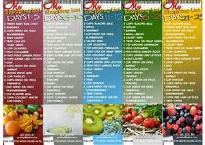 shopping list weeks 1 5 30 day smoothie challenge pinterest