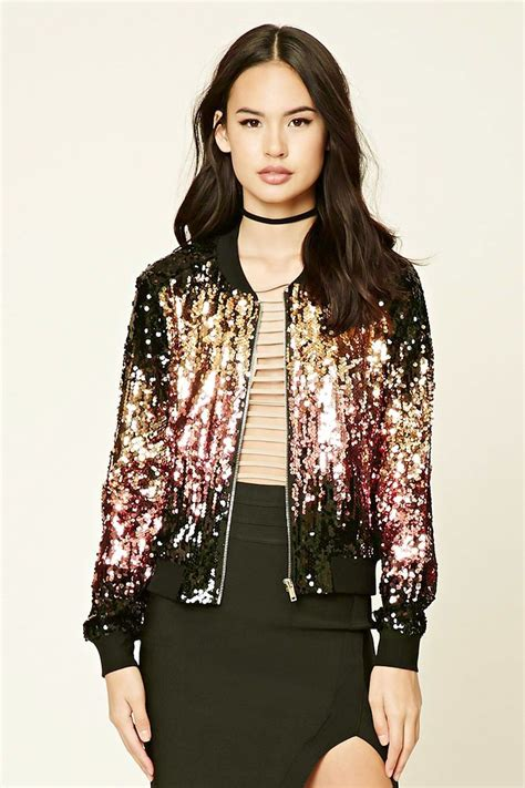Dress Zipper Blink a woven bomber jacket featuring a two tone sequin design