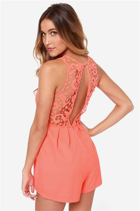 lulu s cute neon orange romper lace romper sleeveless romper