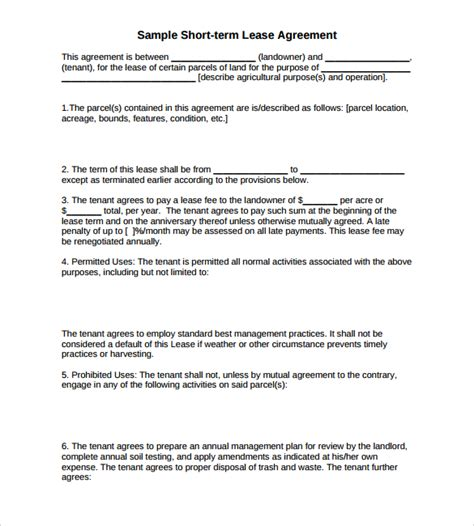 printable pasture lease agreement sle land lease agreement 15 free documents in pdf word