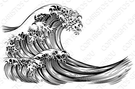 drawing boat and waves great wave japanese style engraving illustrations