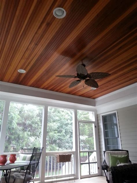 tongue and groove patio ceiling great screened in porch with a tray ceiling and redwood