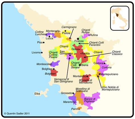 tuscany map tuscany quentin sadler s wine page