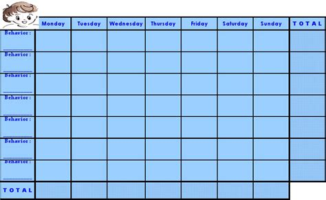 chart templates blank behavior charts calendar template 2016