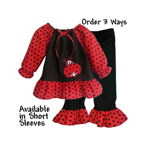 black polka dot ladybug ruffled baby toddler