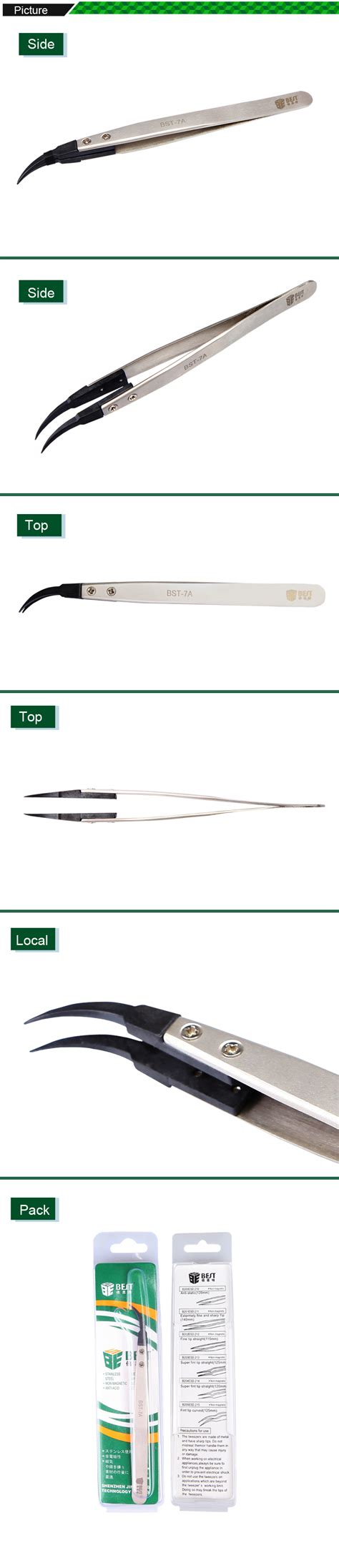 Jepitan Anti Static Model Curved Jakemy High Quality bst 7a anti static curved tweezers with replaceable tip