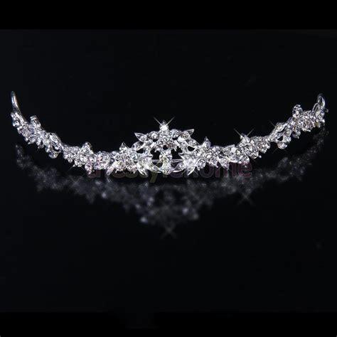 Wedding Crown flower rhinestone tiara crown headband wedding prom bridal shower ebay