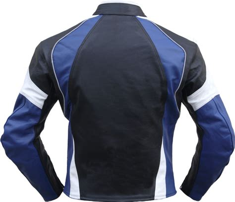 white motorbike jacket leather motorcycle cowhide combi jacket black blue white